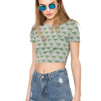 Little Palm Crop Top