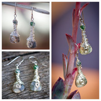 Ocean Jasper Dangle Earrings Wire Wrapped Earrings Bohemian Drop Earrings Gemstone Earrings