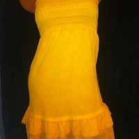 JUICY COUTURE BRIGHT YELLOW TERRY Summer STRAPLESS SUNDRESS,BEACH COVER UP P