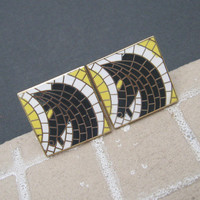 Large Mosaic Horse Cufflinks Tie Clip Vintage Jewelry Swank Set Black Yellow