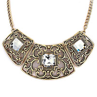 Pugster Hot Retro Statement Necklace Clear Crystal Exaggerate Necklace Pendant
