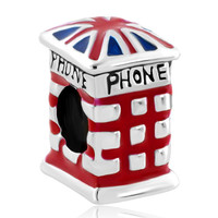 Silver Plated British Flag Phone Booth Lucky Charms Bracelets, Charms Beads, Theme Charms | Pugster.com