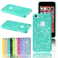 Voberry New Releases Rose Flower Carved Design Simple Hard Case Back Cover For Apple iPhone 5c (MintGreen)