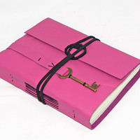 Pink Leather Journal with Key Charm Bookmark