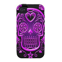 Sugar Skull with Roses, purple