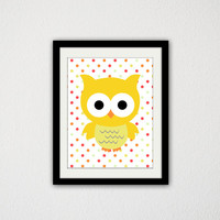 "Cute Little Owl. Yellow Owl. Polka Dots. Baby Room. Nursery. baby girl. Baby Boy. Woodland Creature. Bird. Cute. 8.5x11"" Print."