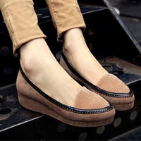 Wholesale Retro cuspate toe waterproof increased middle heel thick bottom platform shoes CZ-0627 apricot - Lovely Fashion