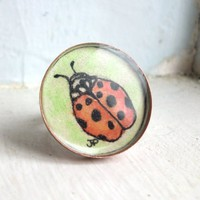 Ladybug Watercolor Art Ring, Original Hand Painted Watercolor Art J...... | jojolarue - Jewelry on ArtFire