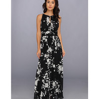 Jessica Howard Shirred Keyhole Neck Maxi