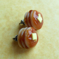 polymer clay buttery pancake stud earrings post earrings