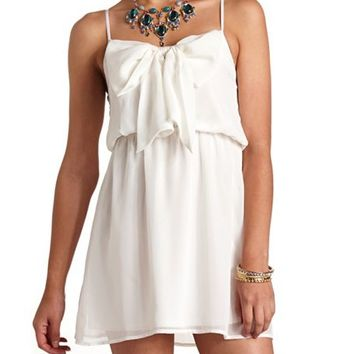 BOW-FRONT CHIFFON DRESS