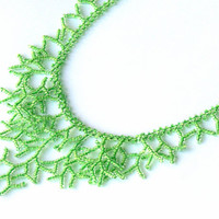 Green Necklace. Bridal Necklace. Bridesmaid  Necklace. Wedding Necklace.  Beadwork.