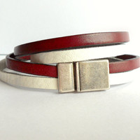 Red and White Leather Double Wrap Bracelet / Cranberry Red and White Flat Leather Bracelet