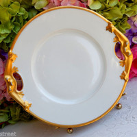 Beautiful Antique Limoges Porcelain Platter ~ White ~ Gold Gild