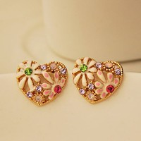 Colorful Flower Heart Earrings