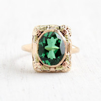 Antique Art Deco 10k Rose & Yellow Gold Green Spinel Stone Ring- Size 4 1/4 Emerald Green Oval Stone with Flower Accents, BDA Fine Jewelry