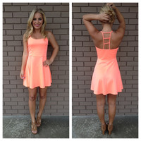 Neon Coral Ladder Back Dress