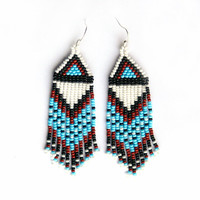 Native American Beaded Earrings inspired. Multicolor Earrings. White Brown Black Blue Earrings. Beadwork