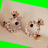 Crowned Rhinestone Fish Earrings