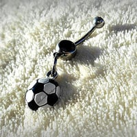 Soccer Belly Ring, Athletic Jewelry, Navel Ring, Sports Jewelry, belly Button, Ready to Ship