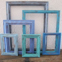 Surf Decor Beach Picture Frame Set Of 6 Blue Rustic Wall Decor