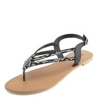 TRIBAL PRINT DOUBLE STRAP SLINGBACK THONG SANDALS