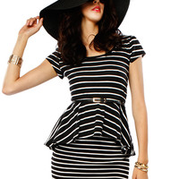 Papaya Clothing Online :: MUST HAVE STRIPE PEPLUM TOP