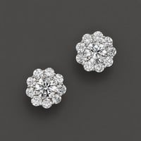 Certified Diamond Cluster Stud Earrings in 14K White Gold, 2.50 ct. t.w.
