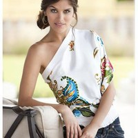 PRINTED ONE SHOULDER TOP | Body Central