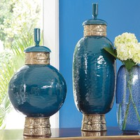 Global Views Decor Maze Cobalt Jar