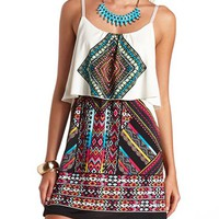 Colorful Aztec Print Flounce Dress