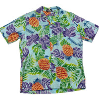 Vintage 90s Light Blue Pineapple Print Hawaiian Shirt Mens Size Medium