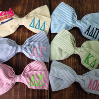 Sorority Monogrammed Seersucker Hair Bow