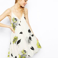 ASOS Swing Cami Dress In Sunflower Print