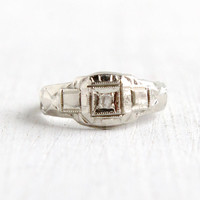 Vintage Art Deco 14k White Gold Diamond Ring- Size 1/2 Baby Midi 1930s Geometric Fine Jewelry