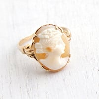 Antique 10K Rosy Yellow Gold Cameo Ring - Art Nouveau Edwardian Size 6 1/2 Hallmarked OB Ostby & Barton Carved Shell Fine Jewelry