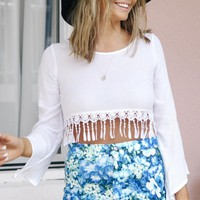 Cropped Crochet Tassel Top with Lace Up Back