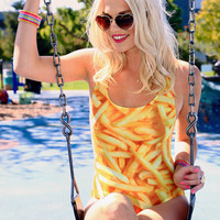 French Fries One-Piece Swimsuit Love This Sunday