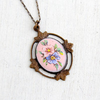 Antique Art Deco Floral Enamel Necklace- 1920s 1930s Brass Paperclip Link Chain With Pink Flower Center