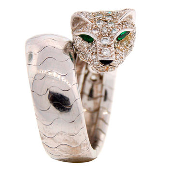 Cartier Emerald Diamond White Gold Panther Ring