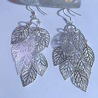 925 Sterling Silver Falling Leaf Shaped Earrings Sterling Silver Leaf Earrings Leaf Dangle Earrings Nature Jewelry Nature Earrings