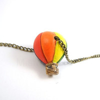 Hot Air Balloon Necklace Rainbow Bronze Chain Up by MistyAurora