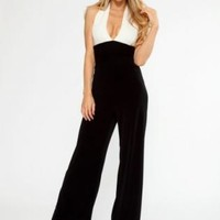 Cream and Black Plunge Halter Jumpsuit