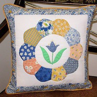 Tulip Applique inside Dresden Plate Pillow Cover | QuiltTops - Housewares on ArtFire