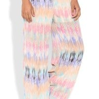 Chiffon Wide Leg Palazzo Pant with Watercolor Ikat Print