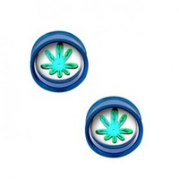 Dark Blue Plug Double Flare With Pot Leaf Disc For Internally Threaded Plugs - Sold as a Pair