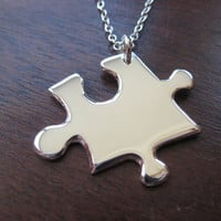Puzzle Piece Pendant Necklace Ready to Ship by GorjessJewellery