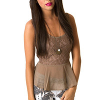 Lace Latte Peplum Top | MACA Clothe