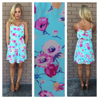 Sky Blue Floral Dress With Pockets