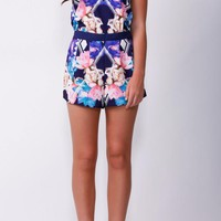Floral Navy Printed Halter Playsuit